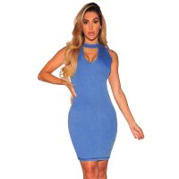 Keyhole Front Denim Bodycon Dresses