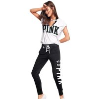 Letter Printing Middle Waist Black Bandage Trousers