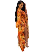 Orange Printed One-Piece Swimwear & Cover Up