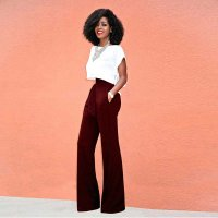 Womens Black Pants With Bow Wide Leg