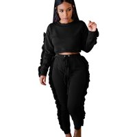 Side Pleated Tracksuit Crop Top and Pants