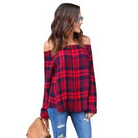 Off The Shoulder Plaid Button Down Shirt