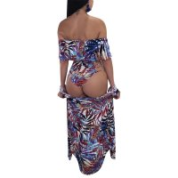 Printing Falbala Decorative Swimsuit + Cloak
