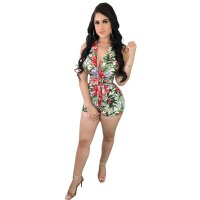Floral Printed Halter Bundle Backless Jumpsuit With Belt