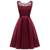 Lace Sleeveless Dovetail Bridesmaid Dress With Bow
