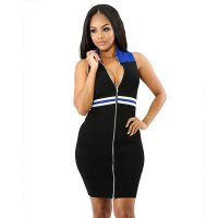 Top-to-Toe Zipped Contrast Bodycon Dresses