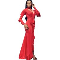 Occassional Long Ruffle Gown With Irregular Hem