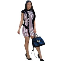Sleeveless Stripped Bodycon Dress With Ruffles