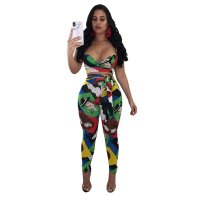Graphic Colorful Print Straps Crop Top and Pants