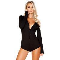 Button Up Basic Plain Bodysuit
