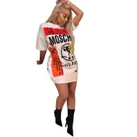 Milano Oversized Graffiti Print T-Shirt Dress (White)