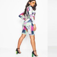 Colorful Print Sports Mid Two Pieces Set