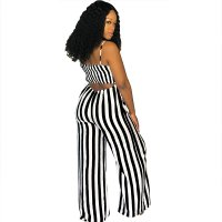 Sexy Straps Striped Wide Jumpsuit