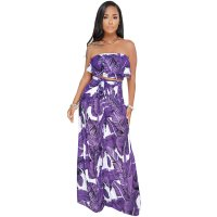 Print Floral Purple Strapless Top and Wide Pants