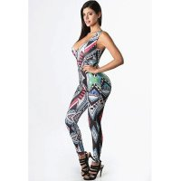 Totem Sexy Plunge Print Jumpsuit