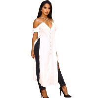 Ruffled Sling Mara Split Long Gown