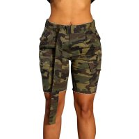 Army Green Camo Print Pockets Belt Plus Size Shorts