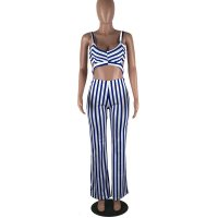 Casual V Neck Striped One-piece Jumpsuits