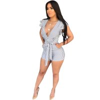 Casual V Neck Striped White One-piece Short Jumpsuits