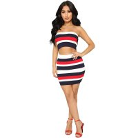Sexy Stripped Colorful Bandeau Top and Skirt