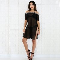Off Shoulder Black Cover-Up Mesh Dress With Contrast Trim