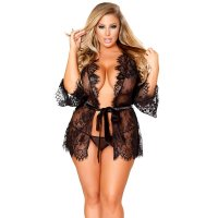 Oversized Size Black Lace Cardigan Lingerie