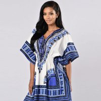 African Printed White Dashiki Women Dress