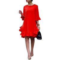 Women Ruffles Chiffon O-Neck Loose Mini Dress