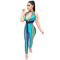 Colorful Striped Halter Jumpsuit
