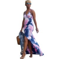 Asymmetric Hem Open Back Tie Dye Maxi Dress