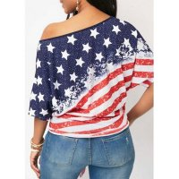 Skew Neck Star Print Half Sleeve Blouse