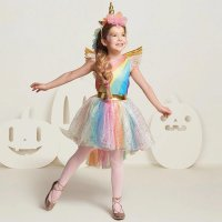 Girls' Deluxe Rainbow Unicorn Costume