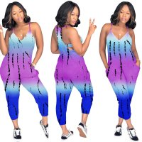 Dew Shoulder Printed One-piece Jumpsuit With Pocket