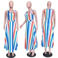 Patchwork Striped Multicolor Ankle Length Dresses