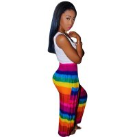 Rainbow Striped Printed Loose Multicolor Pants (Batch Print)