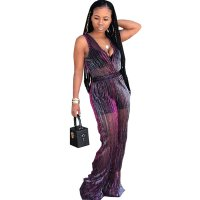 Occassional See-through Purple One-piece Jumpsuit