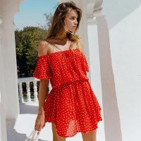Off Shoulder Butterfly Print Beach Dress
