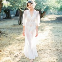 Chiffon Lace Collar Beach Gown