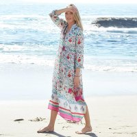 Turn-down Collar Chiffon Long Sleeve Beach Robe