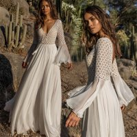 Hollow Lace Chiffon Flare Sleeves Beach Dress