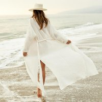 Wrinkled Beach White Holiday Cover-up Cardigan Dress With Belt