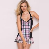 Halter Backless Sexy Babydoll With Bow
