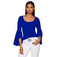 Round Neck Plain Blouse Top With Wide Sleeves