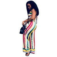 Colorful Striped Straps Jumpsuit with Low Back
