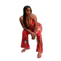 Print Halter Sexy Plung Jumpsuit With Belt