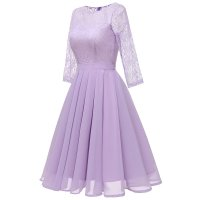 Women's Lace Sleeve Chiffon Swing Wedding Dress