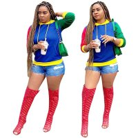 Color Block Long Sleeve Casual Hoodie