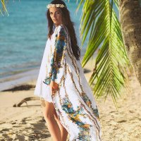 Chiffon Printed Cover Ups Long Cardigan