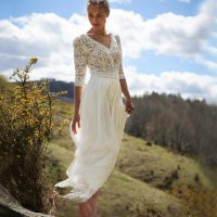 White Lace Chiffon Wedding Dress
