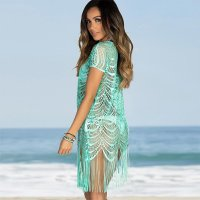 Lace Sexy Fringed Bohemian Beach Tunic Dress
